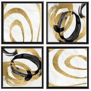 Aurelle Home Gold Multi Wood Swirls Wall Decor (Set of 4)