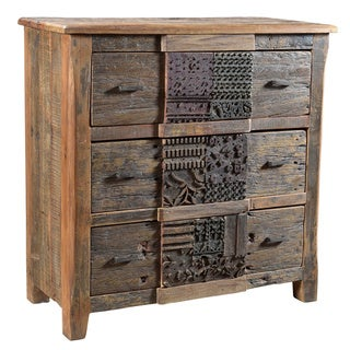 Aurelle Home Norman Rustic Reclaimed Wood 3-drawer Chest