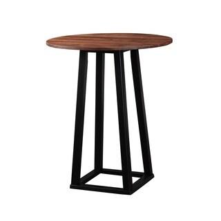 Aurelle Home Solid Walnut Round Bar Table