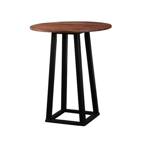 Aurelle Home Solid Walnut Round Bar Table