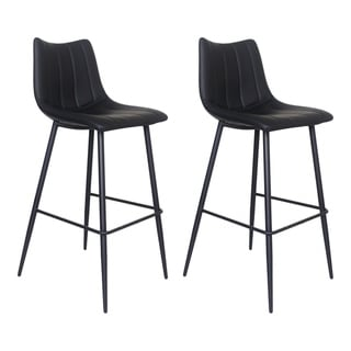 Aurelle Home Brown Contemporary Upholstered Barstool (Set of 2)