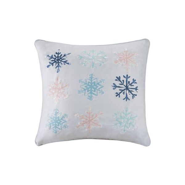 Madison Park Minty Snowflakes Grey Printed Embroidered 40inch Best Madison Square Decorative Pillow