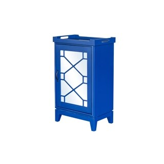 Aurelle Home Indochine Blue Wood Mini Bar Cabinet