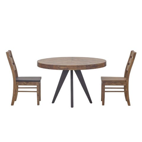 Aurelle Home Panko Round Modern Dining Table - Cappuccino