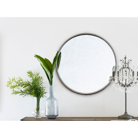 Aurelle Home Grey Iron Round Wall Mirror