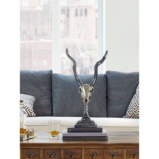 Aurelle Home Gazelle Silver Skull Sculpture