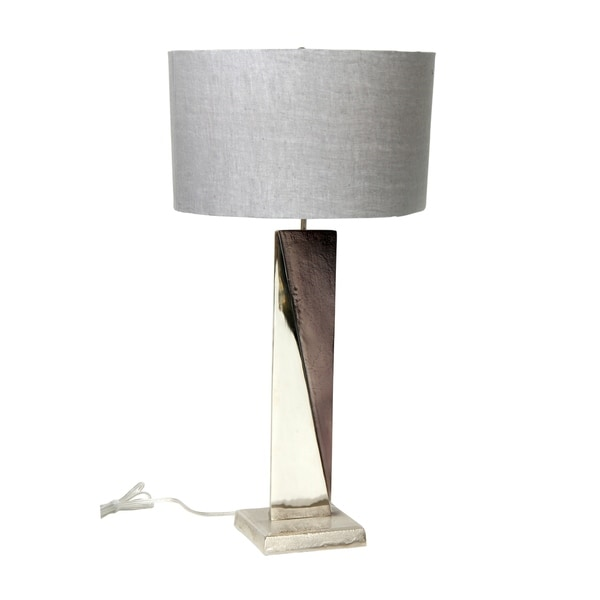 Aurelle Home Contemporary Modern Grey Aluminum 1-light Table Lamp