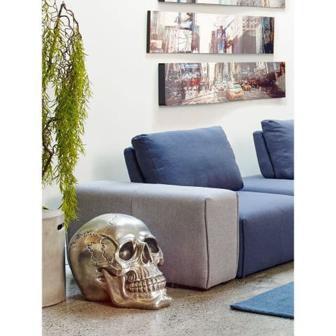 Aurelle Home Large Silver Skull Metal Sculpture