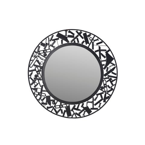 Aurelle Home Industrial Black Iron Round Contemporary Mirror