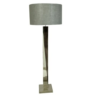 Aurelle Home Wilder Black/ Silver Hammered Aluminum Single-light Floor Lamp