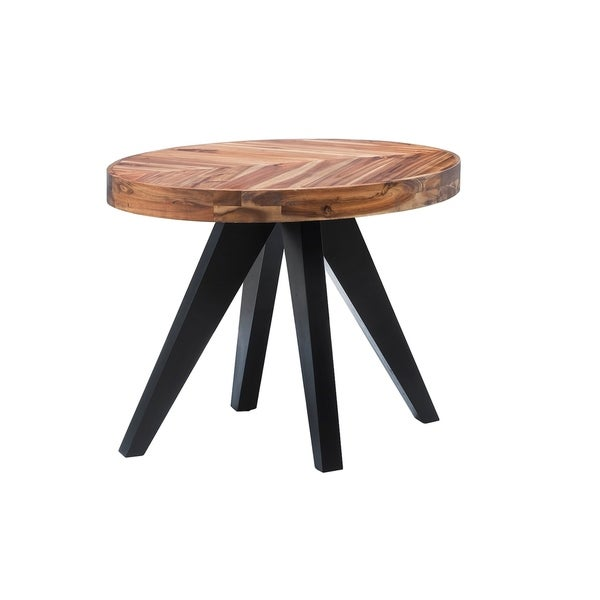 Aurelle Home Parq Cappuccino Wood Oval Side Table