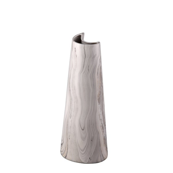Aurelle Home Swirled Grey Clay Crescent Vase