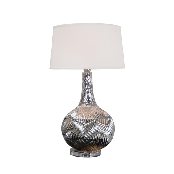 Aurelle Home Patterned Silver Iron 1-light Table Lamp