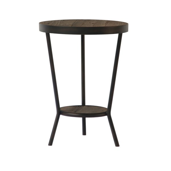 Aurelle Home Brown Wood Industrial Side Table