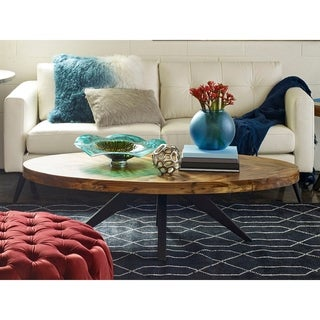 Aurelle Home Panko Oval Modern Rustic Coffee Table