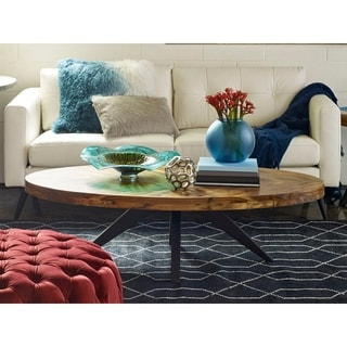 Aurelle Home Parq Cappuccino Wood Oval Coffee Table