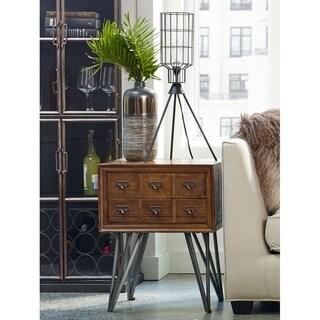 """Aurelle Home Jaxon Farmhouse Reclaimed Elm Side Table - 25.5"""" x 20"""" x 20"""""""