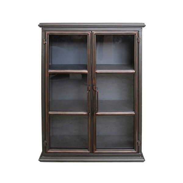 Aurelle Home Lazarus Gunmetal Iron Wall Cabinet