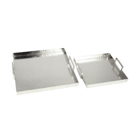Aurelle Home Silver Decorative Square Contemporary Modern Trays (Set of 2)