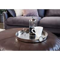 Aurelle Home Silver Aluminum Contemporary Modern Round Trays (Set of 2)