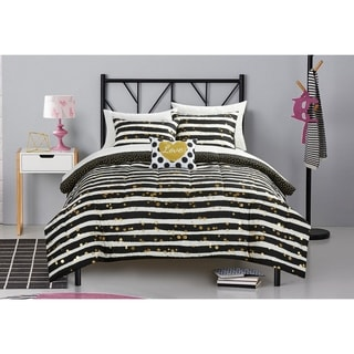 Pop Shop Gold Glitter Stripe 8-piece Bed in a Bag Set