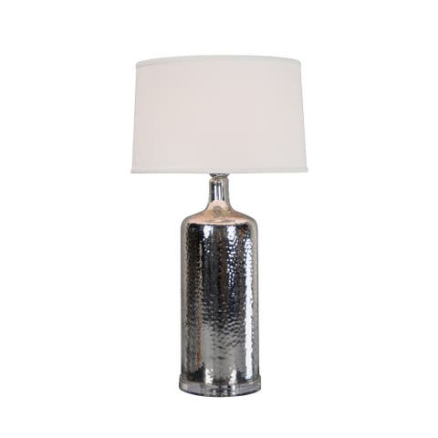 Aurelle Home Handcrafted Silver Hammered Table Lamp