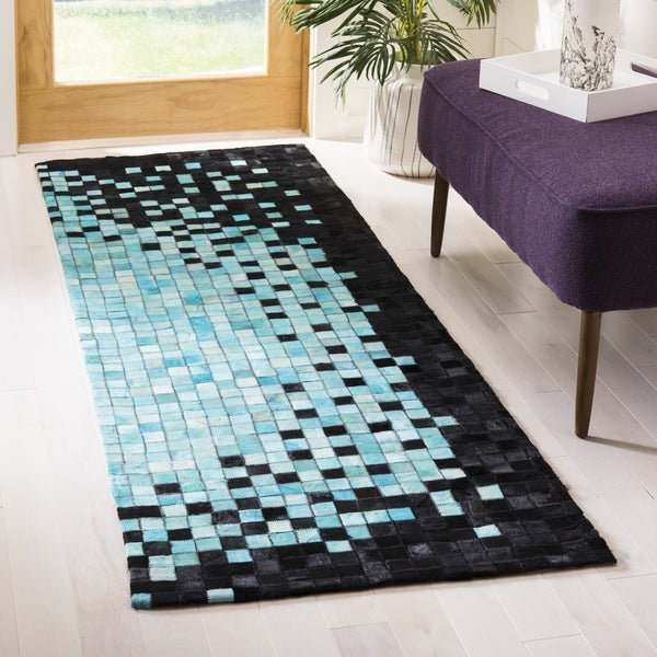 Safavieh Hand-Woven Studio Leather Black/ Turquoise Leather Rug (2' 3 x 7')