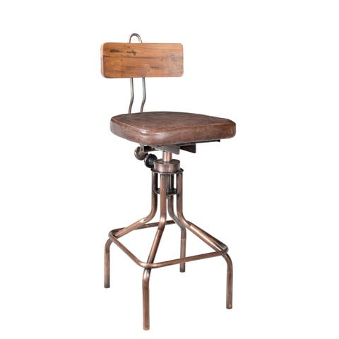 Aurelle Home Industrial Casual Rustic Copper Bar Stool