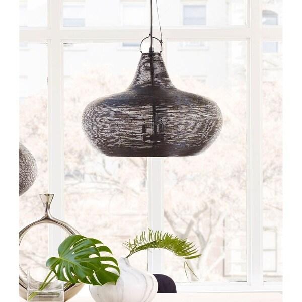 Aurelle Home Large Black Iron Pendant Contemporary Light
