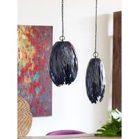 Aurelle Home Cocoon Black Small Aluminum 1-light Pendant