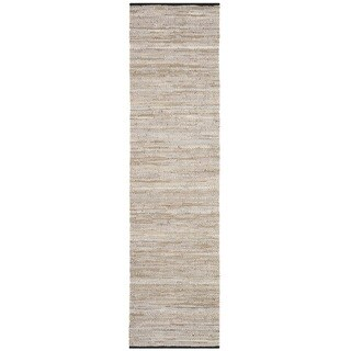 Safavieh Hand-Woven Vintage Leather Beige Leather Rug - 2' 3 x 9'