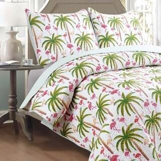 Panama Jack Flamingo Palm 3-piece Quilt Set