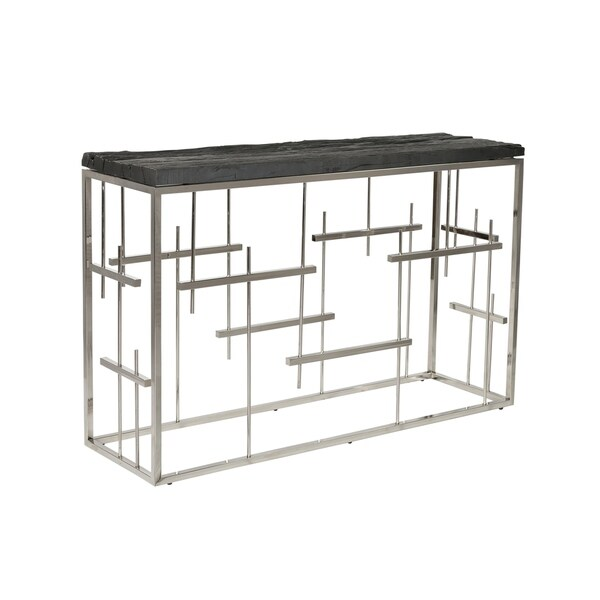 Aurelle Home Morpheus Charcoal Steel Console Table