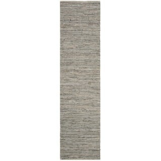 Safavieh Hand-Woven Vintage Leather Grey Leather Rug (2' 3 x 9')