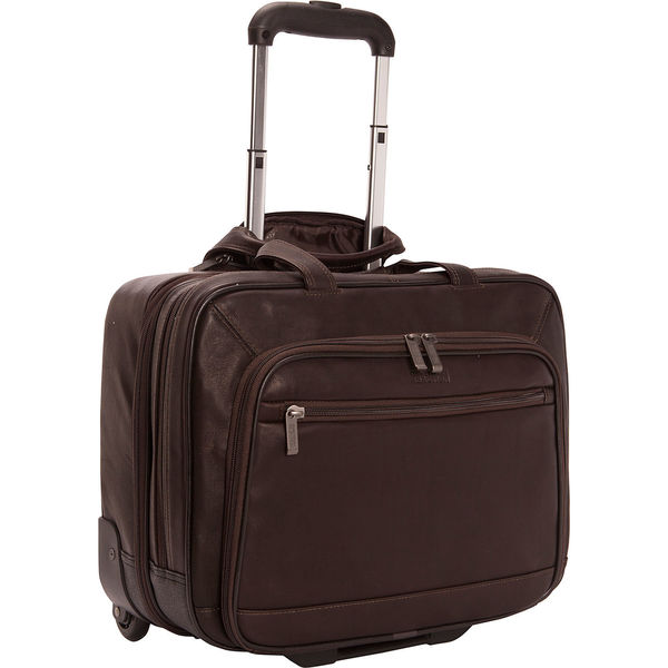 Kenneth Cole Reaction Colombian Leather Carry On Rolling 15.6-Inch Laptop Business Overnighter -  adult
