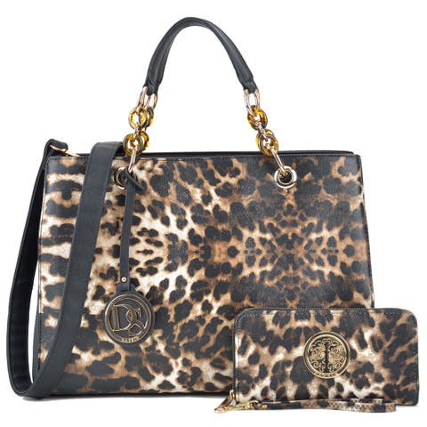 Dasein Faux Saffiano Leather Chain Strap Leopard Satchel Handbag with Matching Wallet