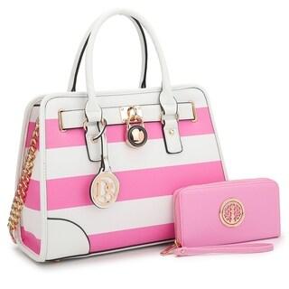 Dasein Medium Faux Leather Leopard Chain Strap Satchel Handbag with Matching Wallet
