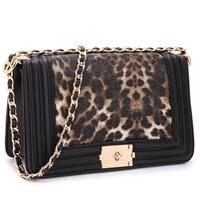 Dasein Quilted Intertwined Leather Gold-Tone Chain Strap Leopard Crossbody Handbag