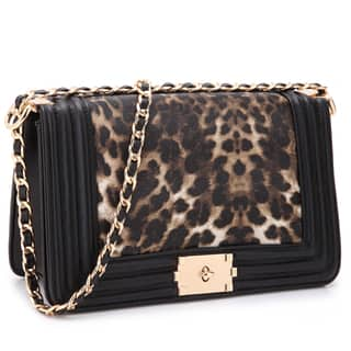 Dasein Quilted Intertwined Leather Gold-Tone Chain Strap Leopard Crossbody  Handbag 9d69d90d0e