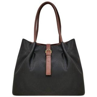 Bueno Antique Grain Faux Leather Double Handle Tote Bag