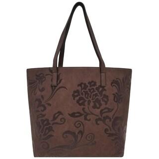 Bueno Flower Scroll Flocked Tote Bag