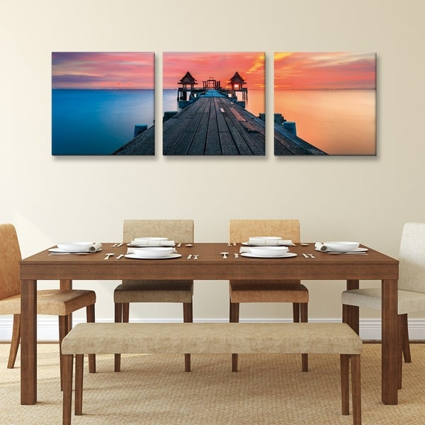 Furinno Senic Sunrise Pier 3 Panel Canvas On Wood Frame 60 X 20 In