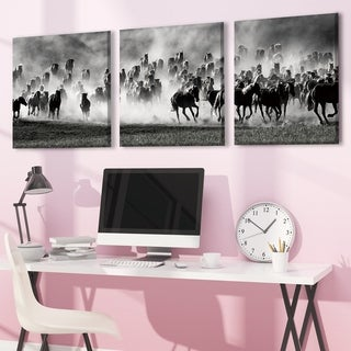 Furinno SENIC Desert Storm 3-Panel Canvas on Wood Frame, 60 x 20-in
