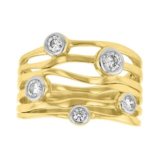 14K White Gold 1/2ct Diamond Bezel Open Wavy Band Ring