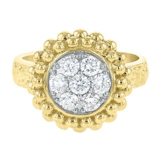 14K Yellow Gold 3/4ct Mosaic Style Diamond Fashion Ring - White