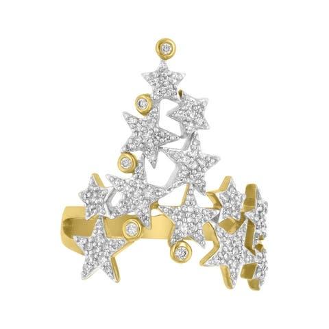 14K Yellow Gold 1/2ct TDW Climbing Star V Shape Diamond Ring
