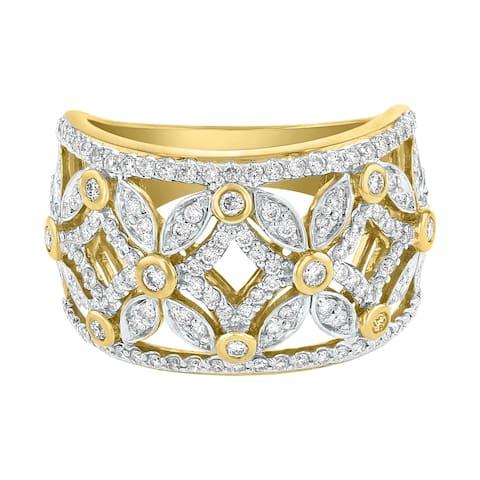 14K Yellow Gold 3/4ct Diamond Fashion Floral Cut Out Ring - White