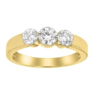 14K Yellow Gold 1/3ct Three Stone Diamond Band Ring - White