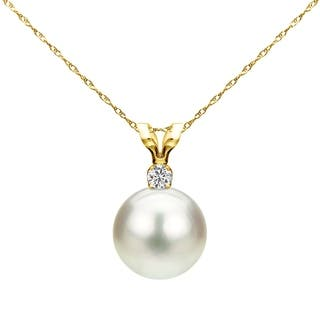 DaVonna 14k Yellow Gold 10-10.5 mm Freshwater Cultured Pearl .05 CTTW Diamond Chain Pendant Necklace 18 inch|https://ak1.ostkcdn.com/images/products/18615498/P24714167.jpg?impolicy=medium