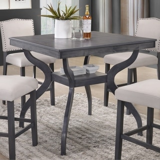 Best Quality Furniture Contemporary Counter Height Dining Table with Storage Shelf, Light Grey